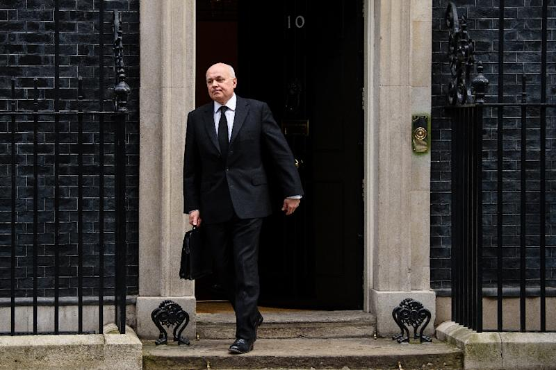 Iain Duncan Smith leaves after attending a pre-Budget cabinet meeting at Downing Street in London, on March 16, 2016
