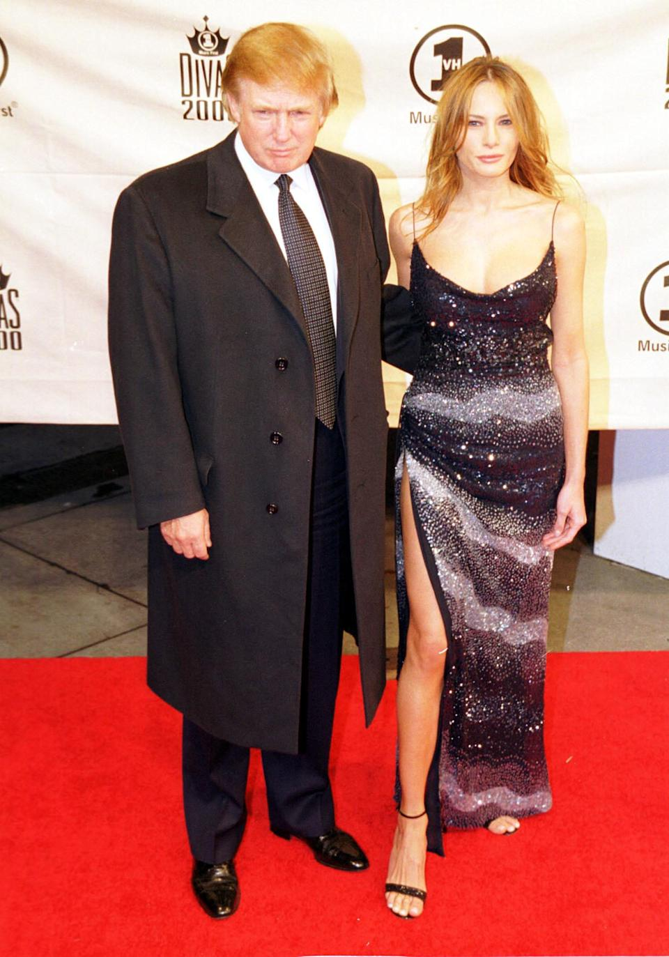 American business tycoon Donald Trump with his girlfriend Melania Knauss at the VH1 Diva's 2000, the 3rd annual VH1 Diva's show which this year was a tribute to Diana Ross, held in Madison Sqaure Gardens in New York.