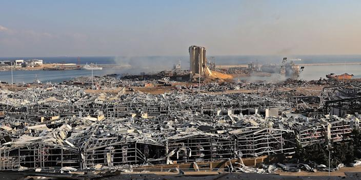 A view of the blast's aftermath in Beirut on Wednesday.