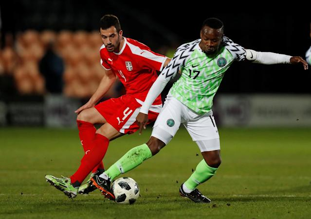 Soccer Football - International Friendly - Nigeria vs Serbia - The Hive Stadium, London, Britain - March 27, 2018 Nigeria's Ogenyi Onazi in action with Serbia's Luka Milivojevic Action Images via Reuters/Peter Cziborra