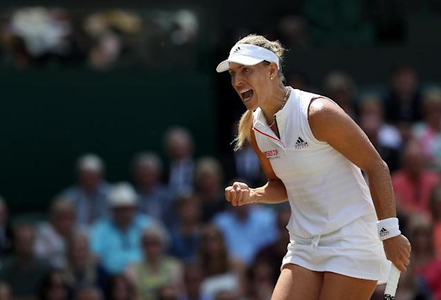 Germany's Angelique Kerber celebrates as she moves into the Wimbledon final (AFP Photo/Daniel LEAL-OLIVAS)