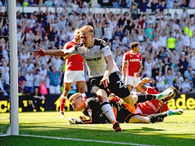 Derby stroll to win to secure play-off place and relegate Barnsley