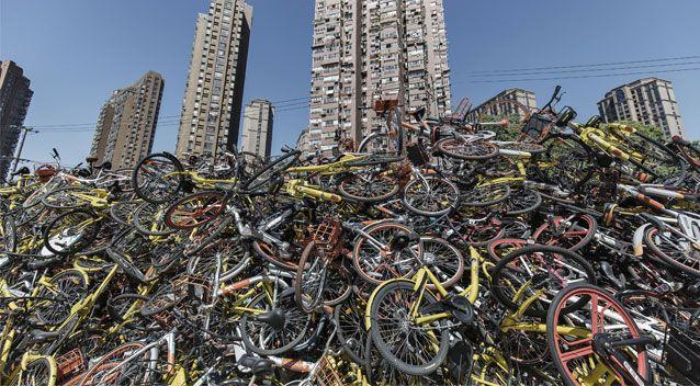 Dozens of 'bike graveyards' are popping up across all of China, including this inner-city site in Shanghai. Source: Getty