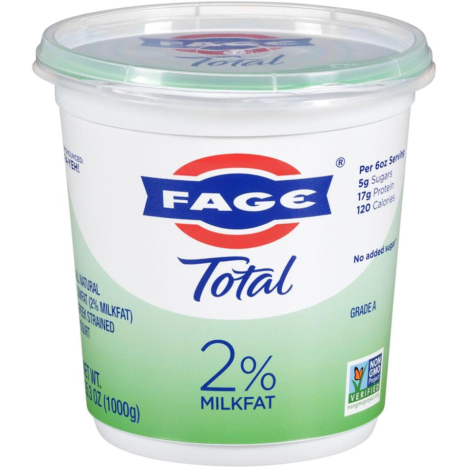 """<p><strong>Fage</strong></p><p>walmart.com</p><p><strong>$5.38</strong></p><p><a href=""""https://go.redirectingat.com?id=74968X1596630&url=https%3A%2F%2Fwww.walmart.com%2Fip%2F23591400&sref=https%3A%2F%2Fwww.prevention.com%2Ffood-nutrition%2Fhealthy-eating%2Fg36664197%2Fbest-yogurt-brands%2F"""" rel=""""nofollow noopener"""" target=""""_blank"""" data-ylk=""""slk:Shop Now"""" class=""""link rapid-noclick-resp"""">Shop Now</a></p><p>""""This is 100% a great yogurt,"""" says Langer. She especially love the taste for a plain yogurt, since it's """"not chalky at all."""" Rich in protein and probiotics, it makes for a perfect midday snack.</p><p><em><strong>Nutrition per serving: </strong>120 cal, 17 g pro, 5 g carb, 0 g fiber, 5 g sugars (0 g added sugars), 3.5 g fat (2.5 g sat fat), 55 mg sodi</em>um </p>"""