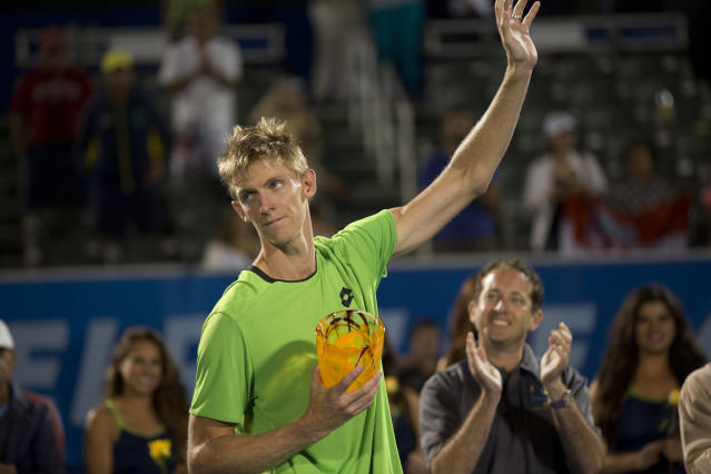 Kevin Anderson reacts after loosing to Marin Cillc in the Delray Beach Open tennis tournament, Sunday, Feb. 23, 2014, in Delray Beach, Fla. Cilic won 7-6 (6), 6-7 (7), 6-4. (AP Photo/J Pat Carter)