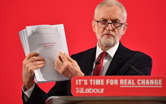 """Jeremy Corbyn brandishes documents talks during the campaign which were """"amplified"""" by Russian actors"""
