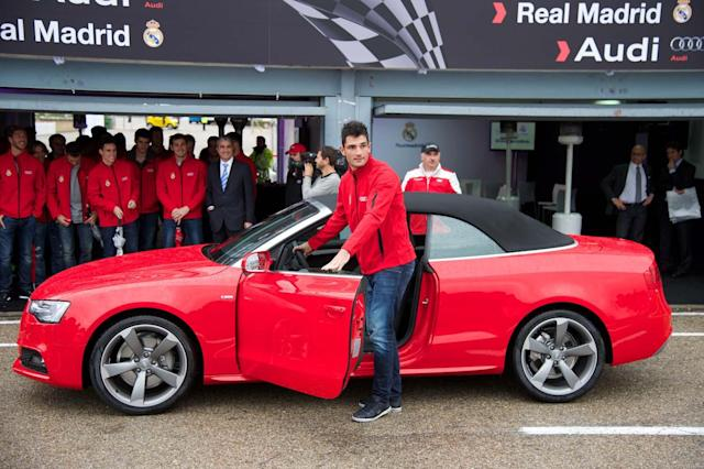 MADRID, SPAIN - NOVEMBER 08: Real Madrid player Antonio Adan receives a new Audi A5 Cabrio at the Jarama racetrack on November 8, 2012 in Madrid, Spain. (Photo by Carlos Alvarez/Getty Images)