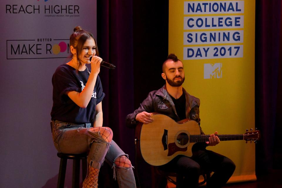 NEW YORK, NY - MAY 05:  Daya (L) performs onstage during MTV's 2017 College Signing Day With Michelle Obama at The Public Theater on May 5, 2017 in New York City.  (Photo by Mike Coppola/Getty Images for MTV)