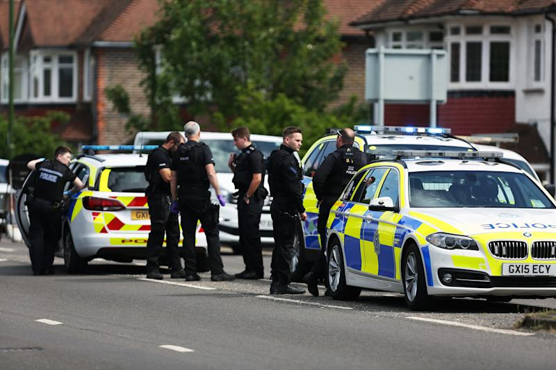 Seven police officers attend an incident on the Old Shoreham Road as the UK continues in lockdown to curb the spread of Coronavirus during the pandemic.