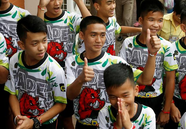 "Youth soccer players saved from a flooded Thailand cave recounted the ""magical"" rescue after being trapped for days without food. (Reuters)"