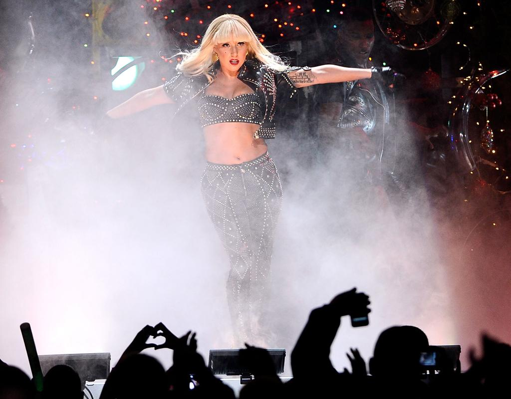 NEW YORK, NY - DECEMBER 09: Lady Gaga performs during Z100's Jingle Ball 2011, presented by Aeropostale at Madison Square Garden on December 9, 2011 in New York City. (Photo by Larry Busacca/WireImage for Clear Channel)