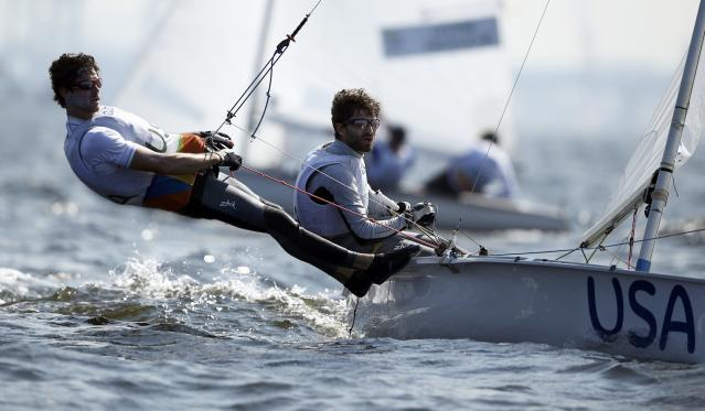 2016 Rio Olympics - Sailing - Preliminary - Men's Two Person Dinghy - 470 - Race 8/9/10 - Marina de Gloria - Rio de Janeiro, Brazil - 16/08/2016. Stuart McNay (USA) of USA and Dave Hughes (USA) of USA compete. REUTERS/Benoit Tessier FOR EDITORIAL USE ONLY. NOT FOR SALE FOR MARKETING OR ADVERTISING CAMPAIGNS.