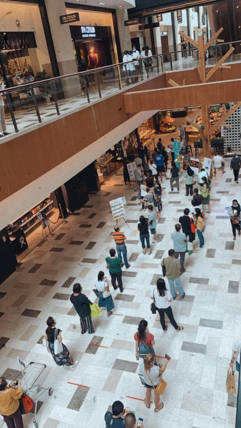 Shoppers queuing outside Ben's Independent Grocer store in Publika. Photo: Syafinaziby/Twitter