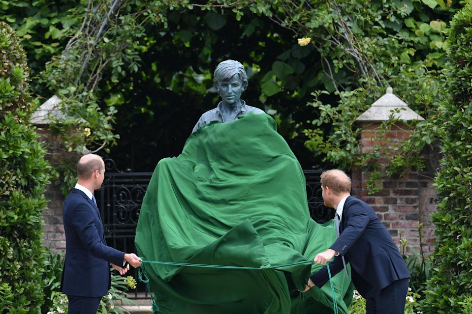 """<p>Today, <a href=""""https://www.harpersbazaar.com/celebrity/latest/a36901337/prince-william-prince-harry-diana-statue-unveiling/"""" rel=""""nofollow noopener"""" target=""""_blank"""" data-ylk=""""slk:Prince William and Prince Harry reunited"""" class=""""link rapid-noclick-resp"""">Prince William and Prince Harry reunited</a> to pay homage to their late mother, Princess Diana, on what would have been her 60th birthday. At the Sunken Garden of Kensington Palace, known to be their mother's favorite spot, the brothers unveiled a statue of the Princess of Wales together, which they commissioned to honor her philanthropic work, as well as her """"love, strength and character."""" </p><p>""""Every day, we wish she were still with us, and our hope is that this statue will be seen forever as a symbol of her life and her legacy,"""" William and Harry said in a statement. Ahead, see photos of the private ceremony on the palace grounds, Diana's sculpture by Ian Rank-Broadley, and the stunning garden designed by Pip Morrison.</p>"""