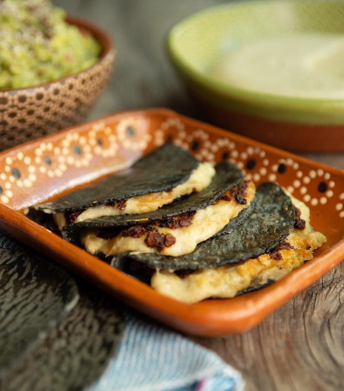"A vegan queso quesadilla prepared by Jocelyn Ramirez, chef and owner of Todo Verde. <span class=""copyright"">(Zohra Banon)</span>"