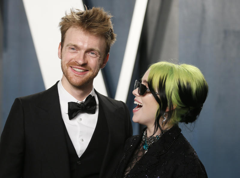 Finneas O'Connell and Billie Eilish attend the Vanity Fair Oscar party in Beverly Hills during the 92nd Academy Awards, in Los Angeles, California, U.S., February 9, 2020. REUTERS/Danny Moloshok