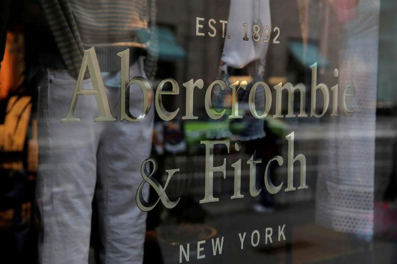 FILE PHOTO: Signage is seen at the Abercrombie & Fitch store on Fifth Avenue in Manhattan