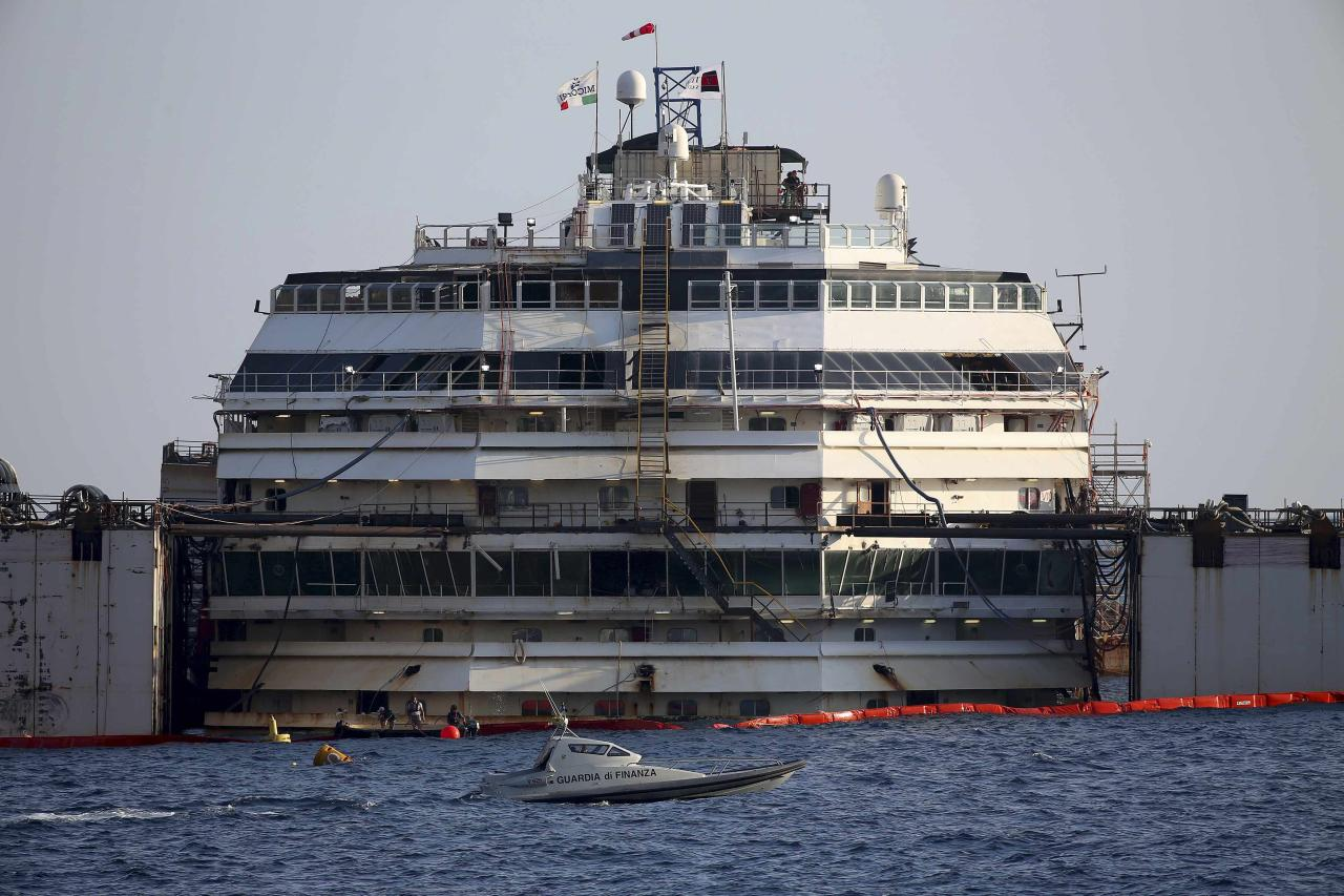 The cruise liner Costa Concordia is seen during a refloat operation at Giglio harbour at Giglio Island July 14, 2014. Technicians on Monday began a complex operation to refloat and tow away the wreck of the Costa Concordia, two and a half years after the luxury liner capsized off the Italian coast, killing 32 people. REUTERS/Alessandro Bianchi (ITALY - Tags: DISASTER TRANSPORT)