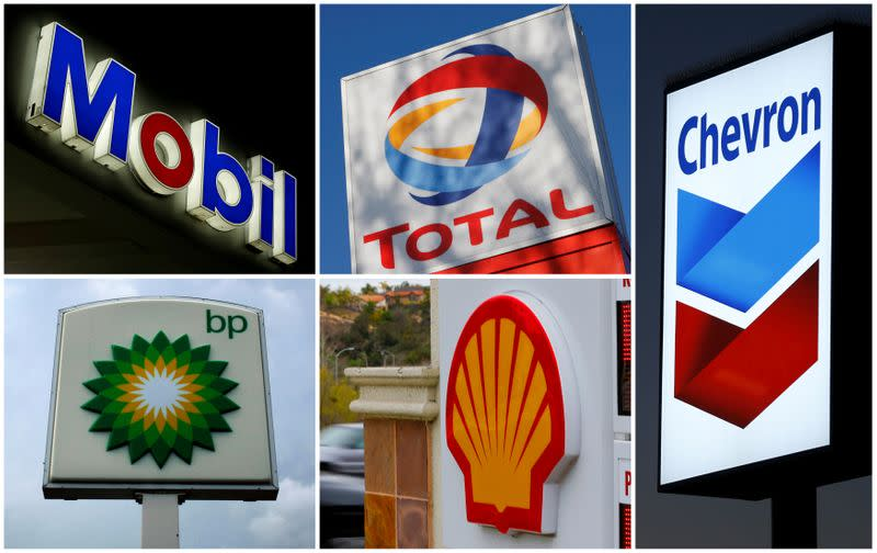 FILE PHOTO: A combination of file photos shows the logos of five of the largest publicly traded oil companies BP Chevron Exxon Mobil Royal Dutch Shell,and Total