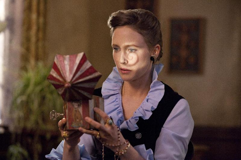 "In this publicity image released by Warner Bros. Pictures, Vera Farmiga portrays Lorraine Warren in a scene from ""The Conjuring."" (AP Photo/New Line Cinema/Warner Bros. Pictures, Michael Tacket, Filet)"