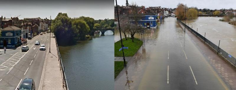 The Salopian Bar in Shrewsbury (pictured far left) pictured in summer (left) and on February 24, 2020 (right). (Photo: Google Maps / Jacob King_PA Images via Getty Images))