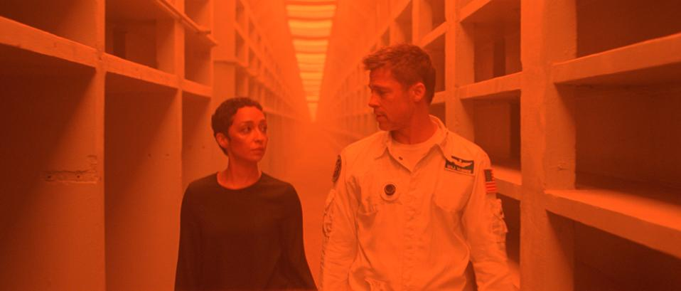 "Ruth Negga and Brad Pitt, in ""Ad Astra"""