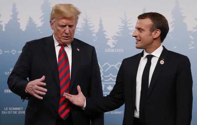 <p>U.S. President Donald Trump shakes hands with France's President Emmanuel Macron during a bilateral meeting at the G7 Summit in in Charlevoix, Quebec, Canada, June 8, 2018. (Photo: Leah Millis/Reuters) </p>