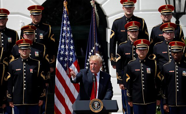 """U.S. President Donald Trump speaks at his """"celebration of America"""" event on the South Lawn of the White House in Washington, U.S., June 5, 2018. The event was arranged after Trump canceled the planned visit of the Super Bowl champion Philadelphia Eagles to the White House. REUTERS/Kevin Lamarque"""