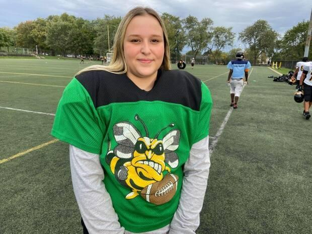 Hayley Harrison is one of 11 girls playing tackle football across all five age categories for the Sun Youth Hornets this season. It's a record high in female participation for the organization.  (Jacques Poitras/CBC - image credit)