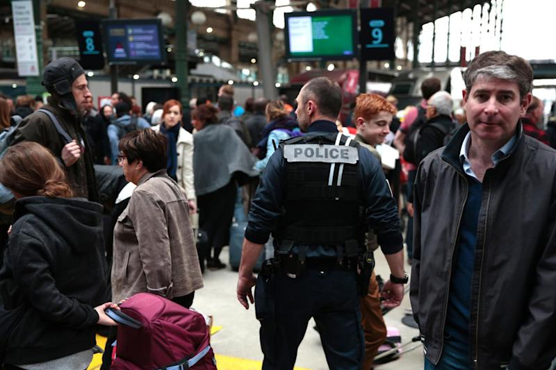 Knife: A French policeman patrols inside the Gare du Nord train station: AFP/Getty Images