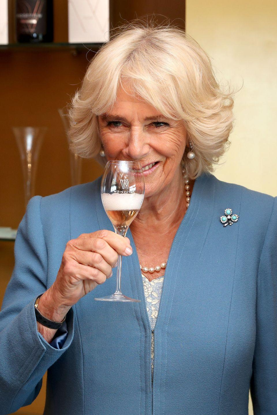 <p>The Duchess of Cornwall's turquoise shamrock brooch, which she has worn often (including for a visit to a winery in East Sussex in 2019), features three leaves of Persian turquoise stones surrounded by diamonds. While the exact provenance of the piece is unknown, there has been speculation that it could be a wedding gift Queen Elizabeth received in 1947 from the Dowager Duchess of Portland.</p>