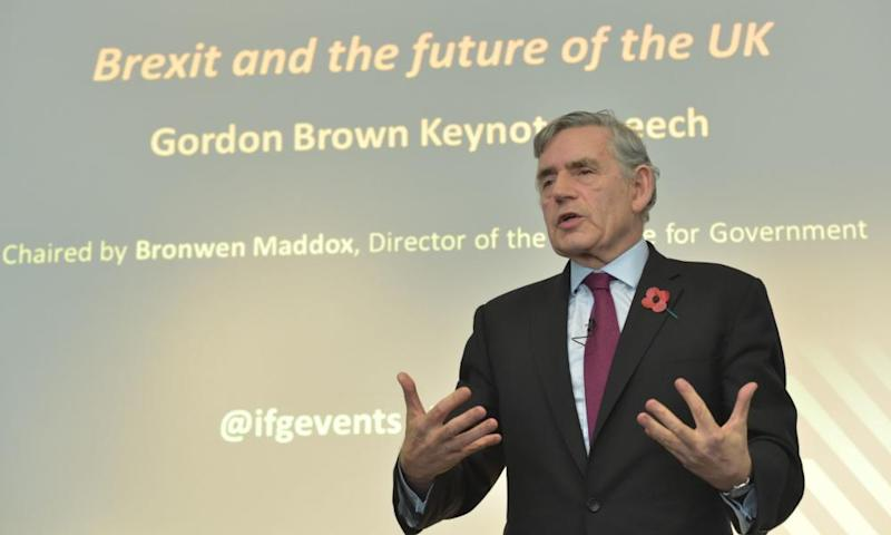 Gordon Brown speaking at the Institute for Government last week.