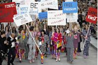 <p>The Grand Palais once again under went a transformation and this time it was the turn of the feminist march powered by the likes of Gisele, Cara and Kate. Placards, banners and megaphone boomed the words, 'women rule' as the girls took the the 'street' proclaiming love not hate. </p>