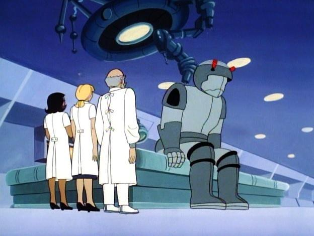 Mendok awakens in his new robot body in Thundarr the Barbarian.
