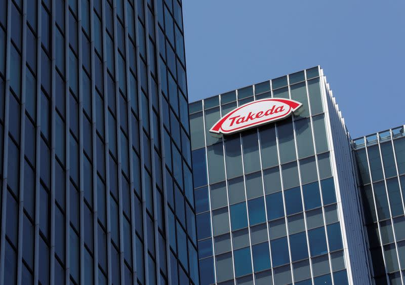 Takeda Pharmaceutical Co's logo is seen at its new headquarters in Tokyo