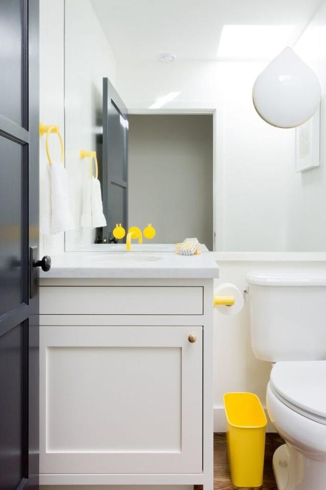 """<p>""""Powder coating! I love to custom powder coat bathroom accessories. Recently we worked on a project where we used a bright yellow Vola faucet and custom powder coated the trash can and towel ring to match. It is such a fun way to add a pop of color! Generally, if it's metal it can be powder coated, and you can pick any color under the sun.""""</p> <p> <em>—Amy Sklar, <a href=""""http://www.sklardesign.com/"""" target=""""_blank"""">Amy Sklar Design </a></em></p>"""