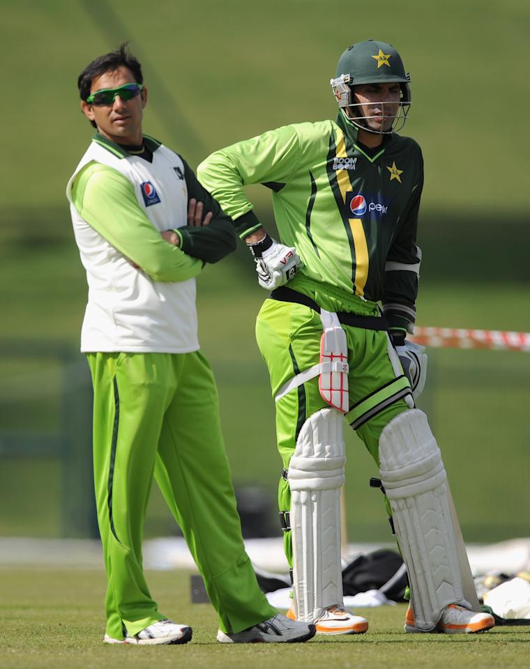 ABU DHABI, UNITED ARAB EMIRATES - JANUARY 24: Saeed Ajmal and Misbah-ul-Haq of Pakistan during a nets session at Sheikh Zayed Stadium on January 24, 2012 in Abu Dhabi, United Arab Emirates.  (Photo by Gareth Copley/Getty Images)