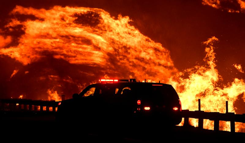 A wind driven wildfire continues to burn in Canyon Country north of Los Angeles, California, Oct. 25, 2019. (Photo: Gene Blevins/Reuters)