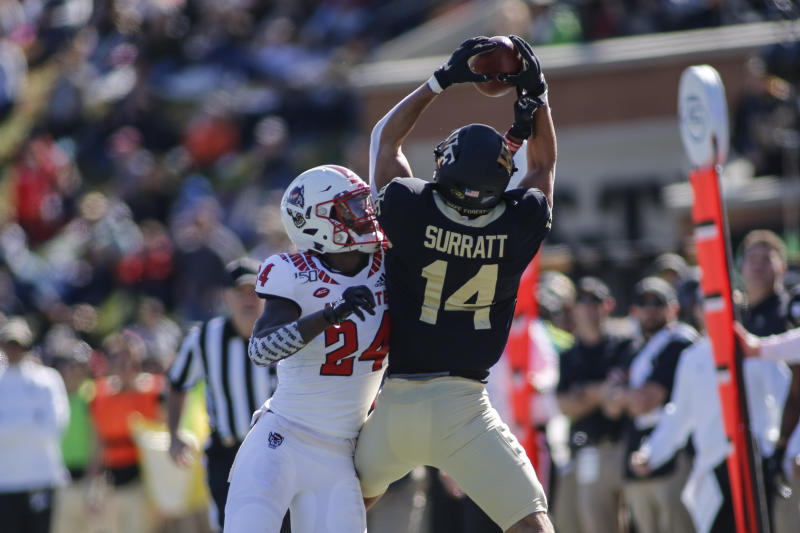 Wake Forest wide receiver Sage Surratt excels at contested catches. (AP Photo/Nell Redmond)