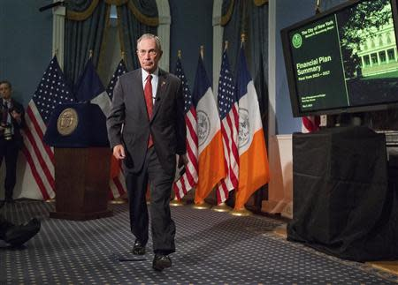 New York Mayor Michael Bloomberg walks from the podium after delivering the 2014 city budget in the Blue Room of New York's City Hall in this file photo