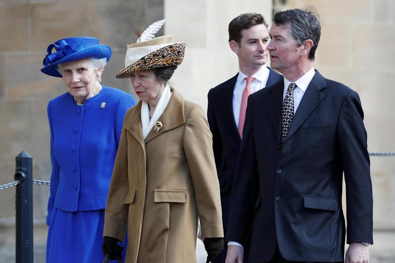 Service: The Princess Royal (second left) and her husband Timothy Laurence (right) (PA)