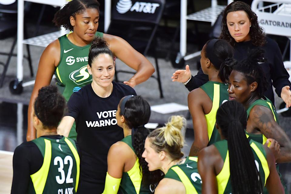 "Sue Bird was among the players who led many in the league to wear ""Vote Warnock"" shirts in support of a US Senate race in Georgia. (Photo by Julio Aguilar/Getty Images)"