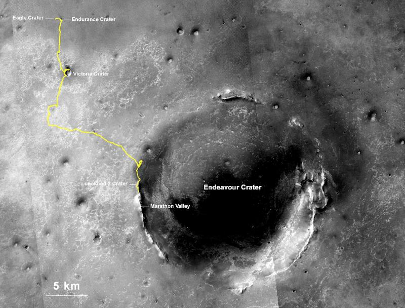 Photo released on July 28, 2014 shows the route NASA's Opportunity rover has driven since landing on Mars in January 2004