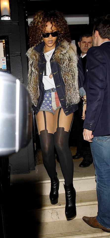 Which part of Rihanna's getup -- that she wore to dinner at Nozomi in London -- do you find most hideous? Her fur coat (someone call PETA!), her star-spangled Daisy Dukes, or her skeezy stockings? Discuss! (11/13/2011)