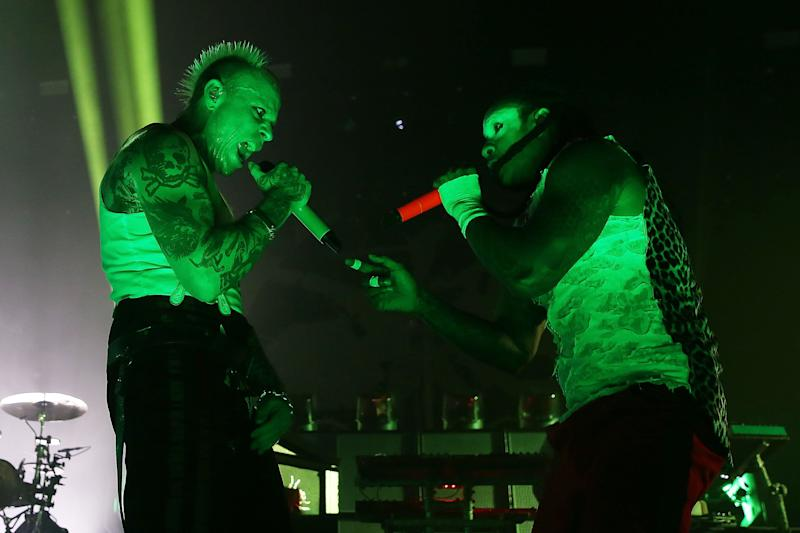 Keith Flint and Maxim perform live on stage at O2 Academy Brixton (Photo: Simone Joyner via Getty Images)