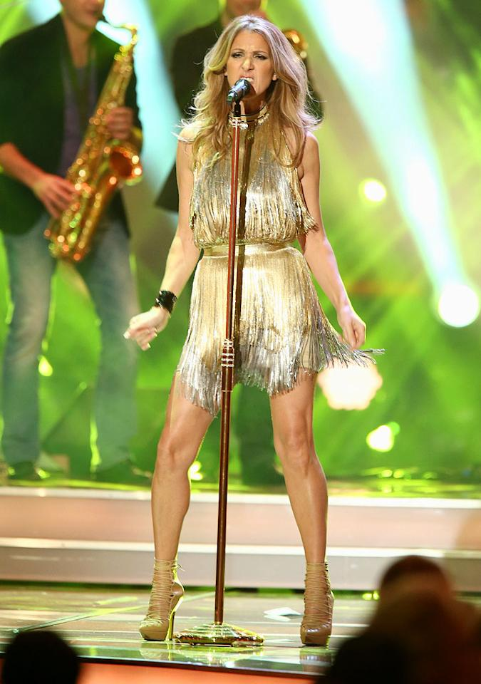 DUESSELDORF, GERMANY - NOVEMBER 22:  Celine Dion performs during the 'BAMBI Awards 2012' at the Stadthalle Duesseldorf on November 22, 2012 in Duesseldorf, Germany.  (Photo by Andreas Rentz/Getty Images)