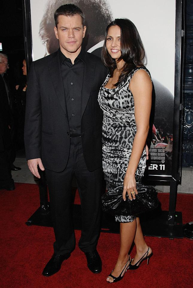 "<a href=""http://movies.yahoo.com/movie/contributor/1800020155"">Matt Damon</a> and wife at the Los Angeles premiere of <a href=""http://movies.yahoo.com/movie/1810073710/info"">Invictus</a> - 12/03/2009"