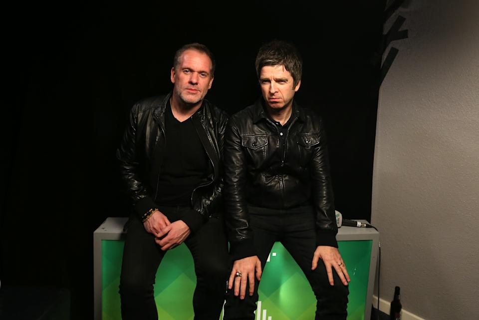 Noel Gallagher and Chris Moyles backstage at the Radio X Road Trip Show held at the O2 Apollo in  Manchester. PRESS ASSOCIATION Photo. Picture date: Wednesday December 2, 2015. Photo credit should read: Martin Rickett/PA Wire