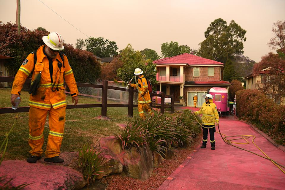 Picture of fire retardant on homes on Canoon Rd and Barwon Avenue South Turramurra, north of Sydney, where a bushfire threatened homes on Tuesday.