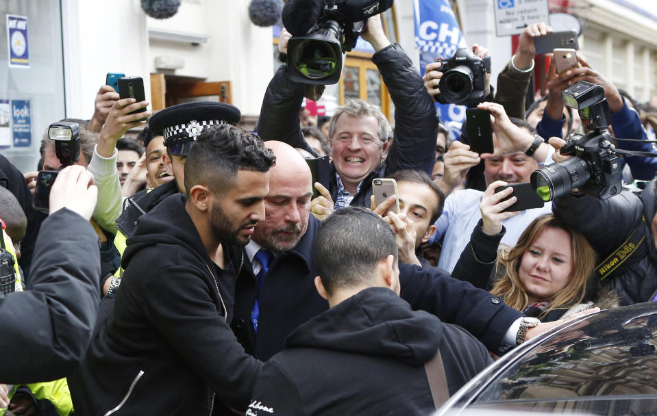 Britain Soccer Football - Leicester City celebrate winning Premier League title - Leicester - 3/5/16 Leicester's Riyad Mahrez leaves San Carlo restaurant where the Leicester team are having lunch Action Images via Reuters / Craig Brough Livepic EDITORIAL USE ONLY.